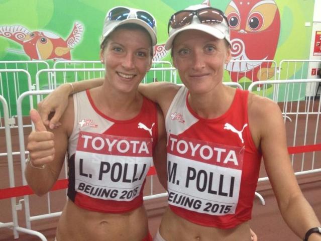 Laura et Marie Polli à Pékin le 28 août 2015 [Swiss Athletics]