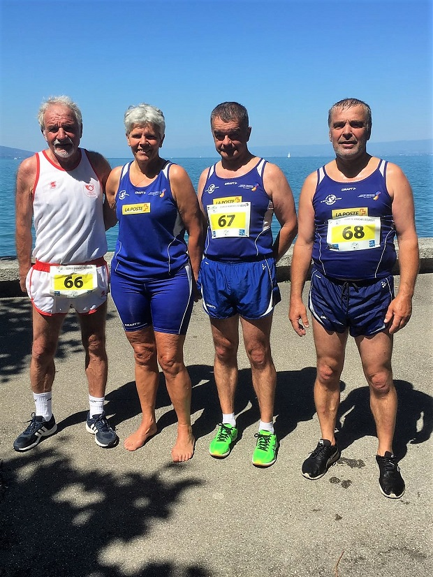 Les médaillés André Rouiller, Colette Girard, Claude Berner, Claude Greber [Frédéric Bianchi / Swiss Walking]