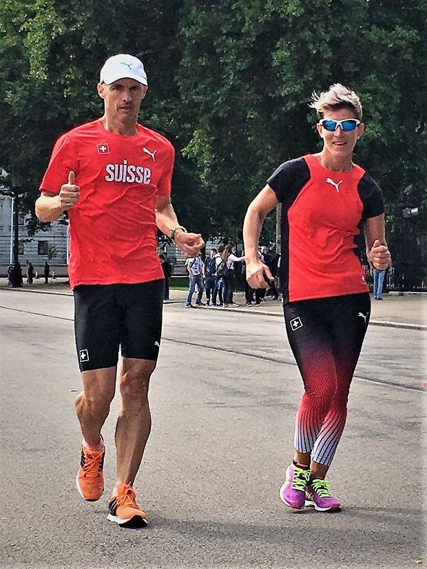 Alex Florez et Laura Polli à l'entraînement à Londres [Marie Polli / Swiss Walking]