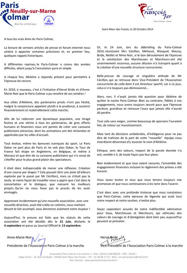 Droit de réponse Paris - Colmar 2015 (10.2014)