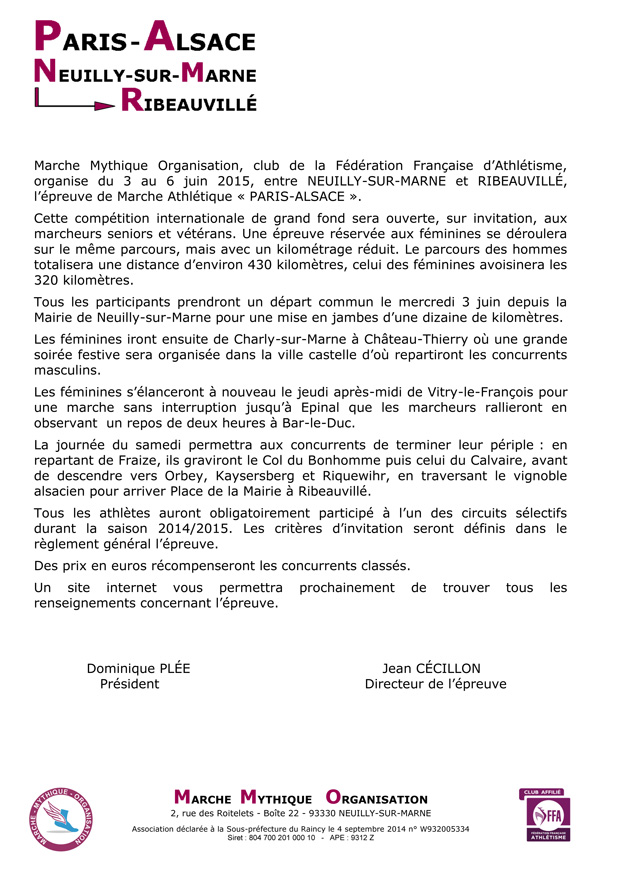 Présentation de Paris - Alsace 2015 par MMA (11.2014)